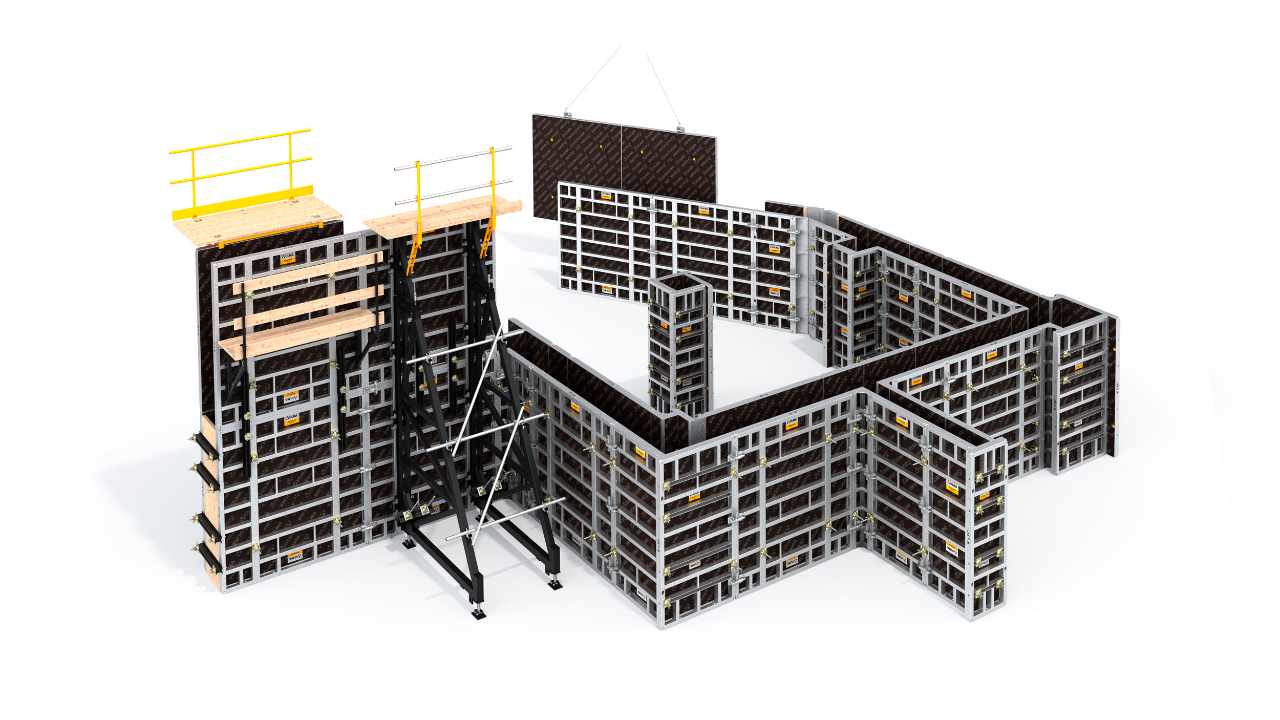 Strong and versatile modular wall and column formwork in imperial measurements for building construction or civil engineering projects.
