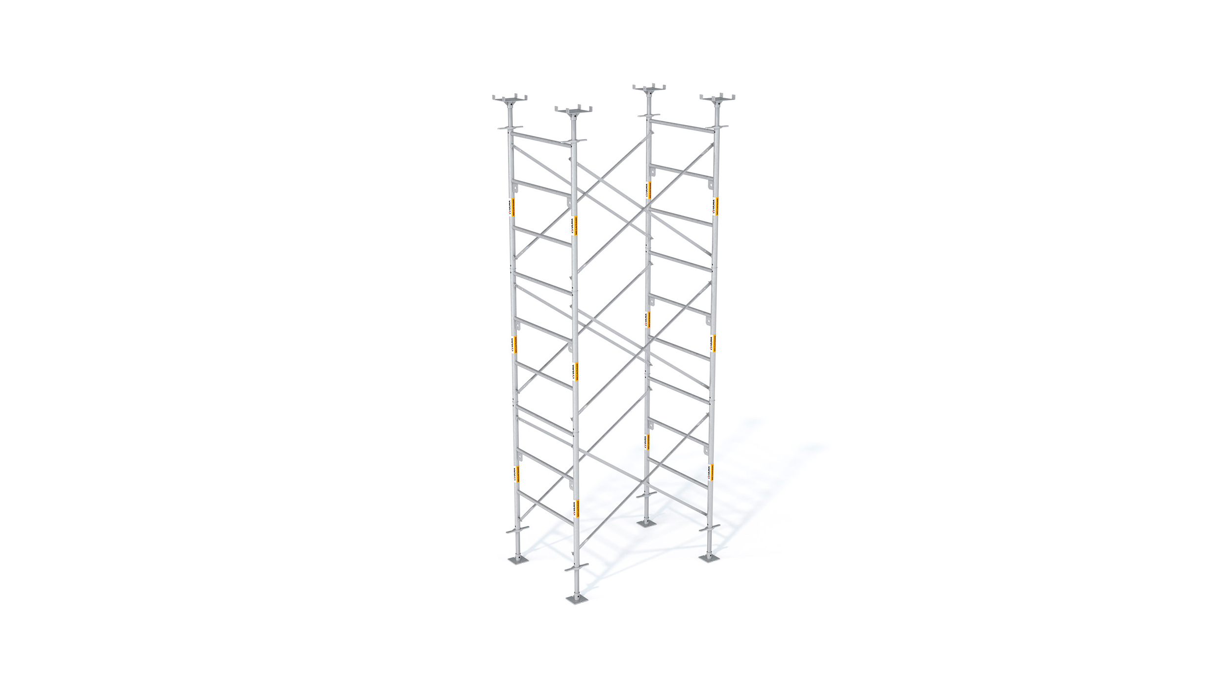 Galvanized steel frame handset shoring system, used on a great variety of construction projects.