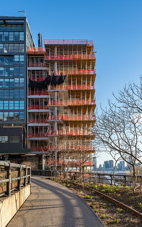 A geometrically unique office building, overlooking the Hudson River in Manhattan