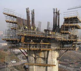 G Heavy Duty Bracket in construction of viaduct with superelevation