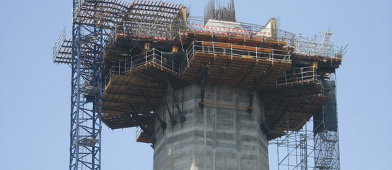Working platforms in the construction of pier segment