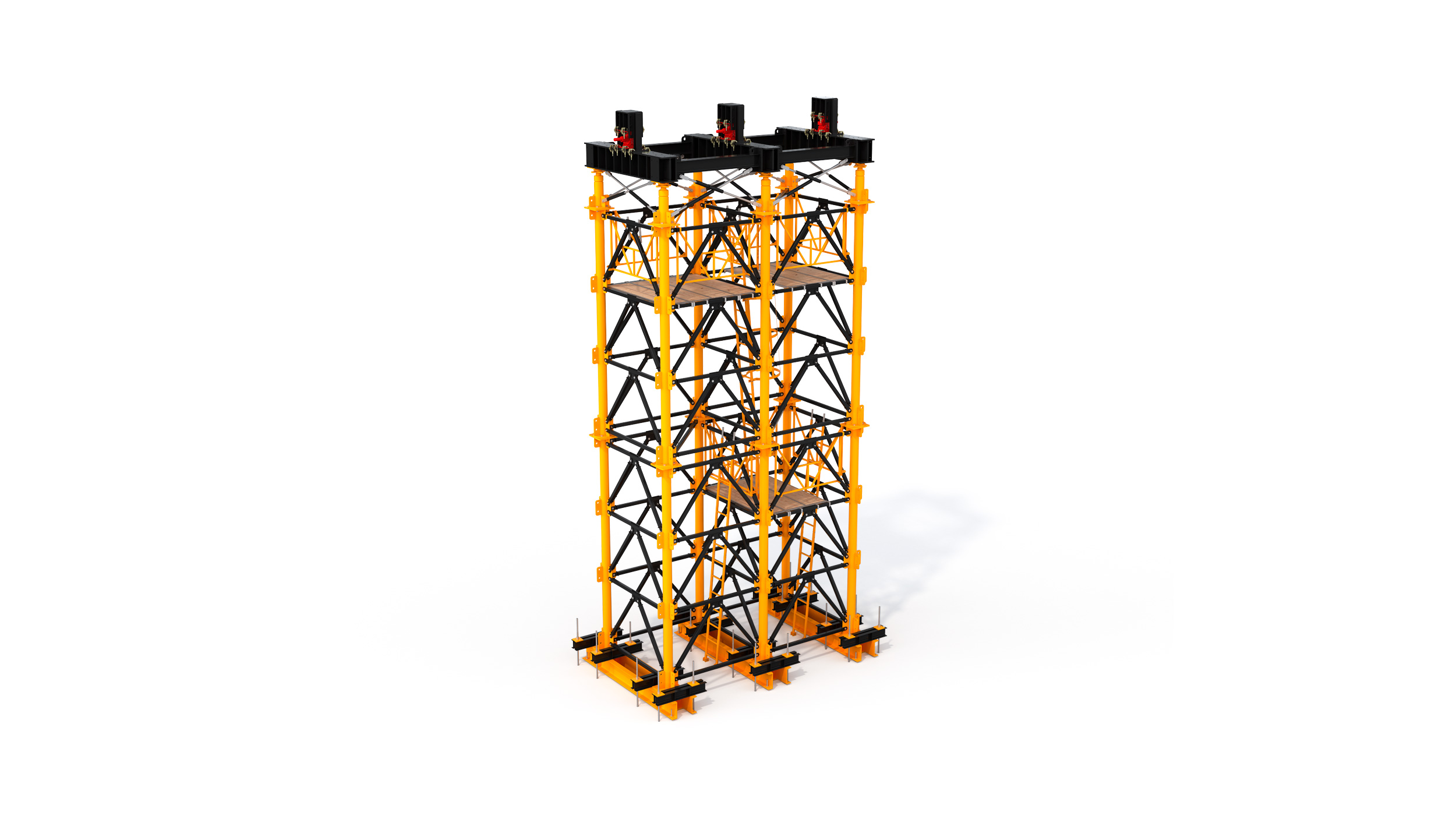 Heavy duty concrete shoring system mainly used for high-rise bridge or viaduct constructions. Highlights: modular system, easy transport, quick and safe on-site erection.