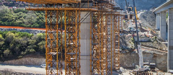 Viaduct shoring with T-500 shoring system