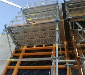 Metallic working platforms and access ladders