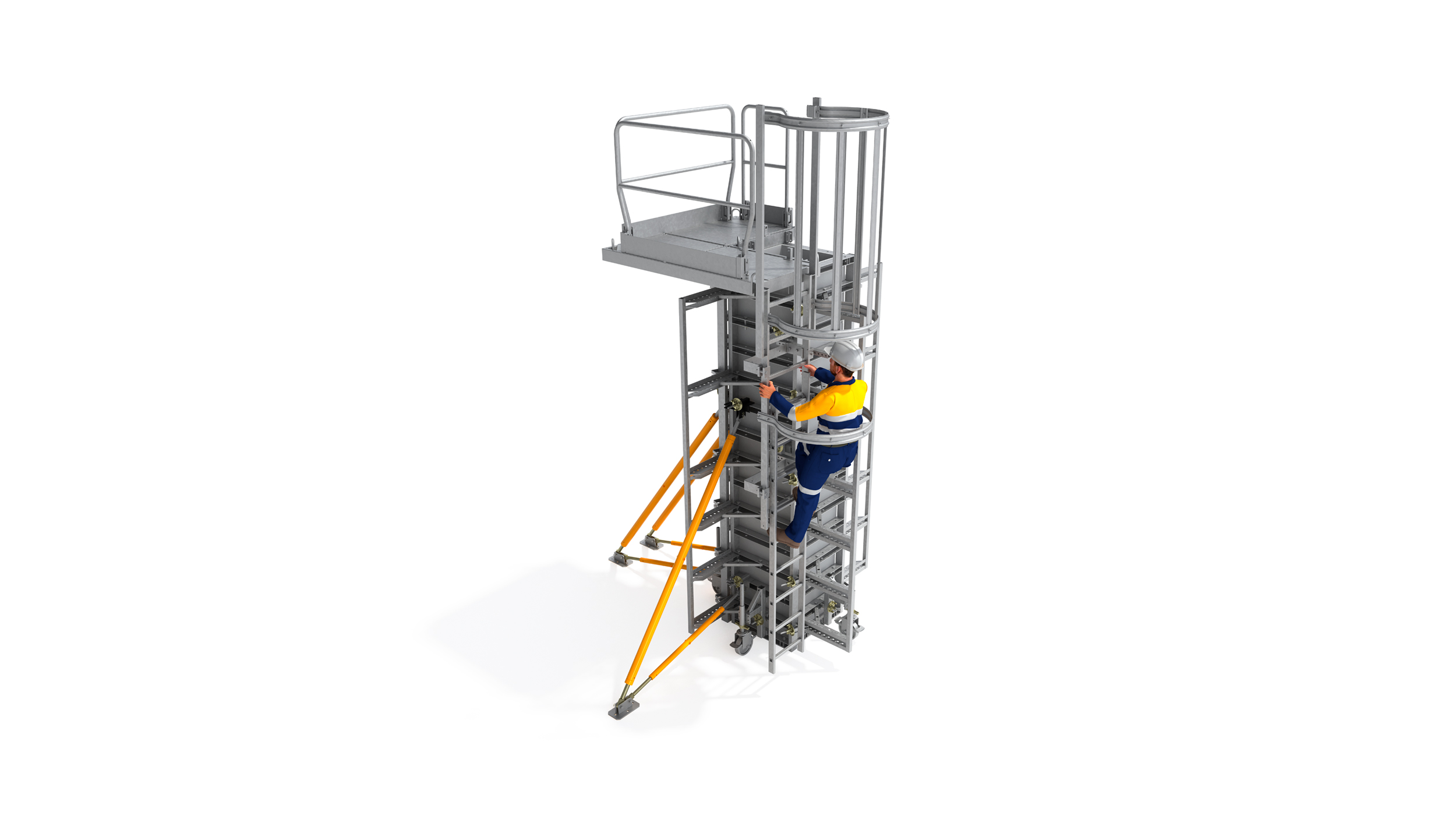 Cost-efficient safety system specially designed for column concreting tasks. Highlights: built-in safety and lifting elements. Easy to erect and dismantle.