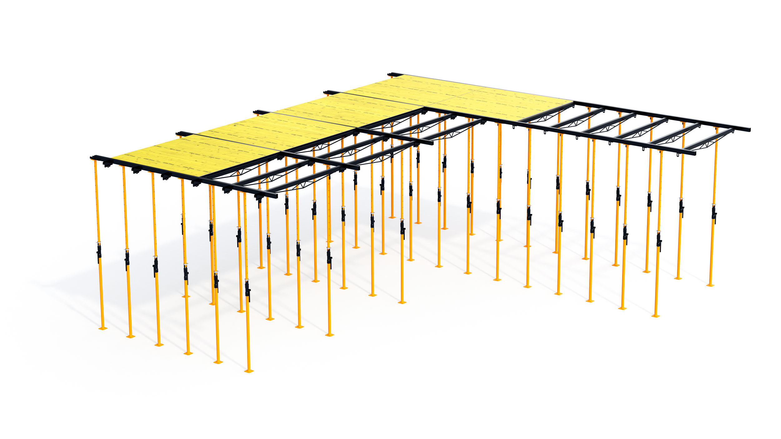 High performance recoverable slab formwork system for building construction.  Highlights: light components, fast assembly and disassembly.